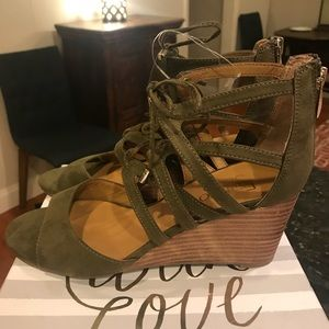 Franco Sarto Olive Wedge Lace Up Sandals